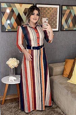 Vestido Longo Moda Evangelica em Malha Estampado com Cinto RP