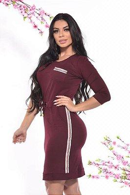 Vestido Marsala Moda Evangelica com Bolso e Faixa Lateral DM