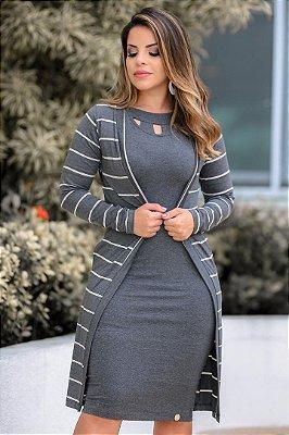 Conjunto de Vestido + Cardigan Moda Evangelica Cinza Boutique K 4708