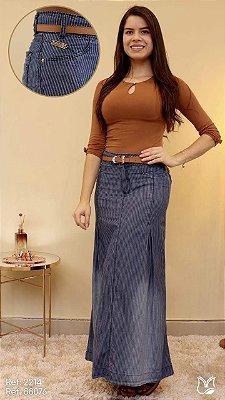 Saia Jeans Longa Moda Evangelica com Cinto MN 88076