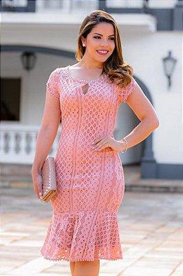 Vestido Rose Moda Evangelica em Renda Barra Sino RS 1513