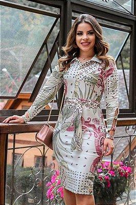 Vestido Tubinho Moda Evangelica estampado em Alfaiataria Manuela ENN