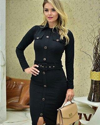 Vestido Tubinho Preto Moda Evangelica com Cinto Maria Amore 2685