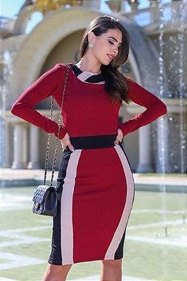 Vestido Tubinho Marsala Moda Evangelica Maria Amore 2686