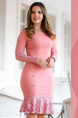 Vestido Barra Sino Moda Evangelica Rose com detalhe em Renda e Botões RS 1522