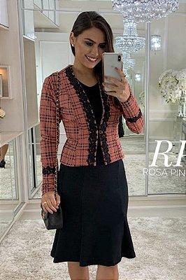 Vestido Barra Sino com Casaco Moda Evangelica com detalhe em Guipir RP