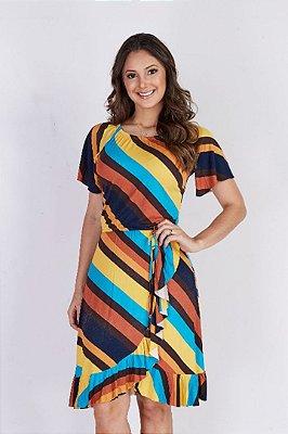 Vestido Viscolyca Moda Evangelica com Elastico na cintura Tata Martello 5021