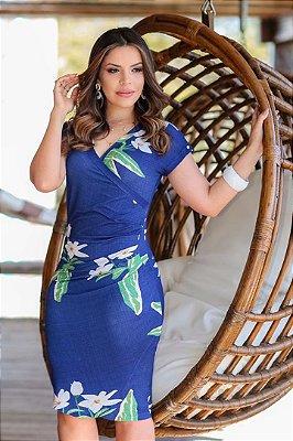 Vestido Transpassado Moda Evangelica em Malha Estampado Boutique K 4797