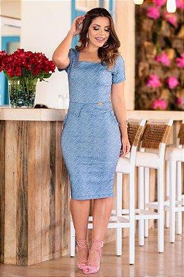 Vestido em Sarja Azul Jeans Moda Evangelica com Elastano Boutique K 0131