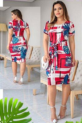 Vestido Tubinho Moda Evangelica em Neoprene com Cinto Boutique K 0126