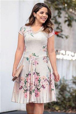 Vestido Lady Like Moda Evangelica Estampado detalhes em Perolas e Botões  RP