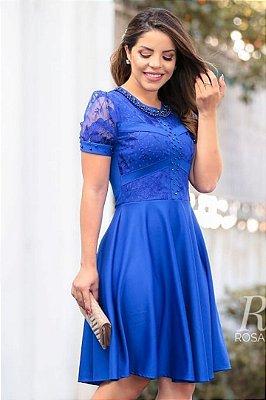 Vestido Azul Moda Evangelica Lady Like detalhes em Perolas RP