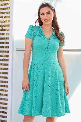 Vestido Verde Moda Evangelica Lady Like detalhes em Perolas RP