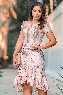 Vestido Rose Estampado Moda Evangelica Barra Sino com detalhes em Guipir  RP