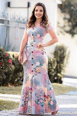 Vestido Longo Moda Evangelica Estampado com Botões  RP