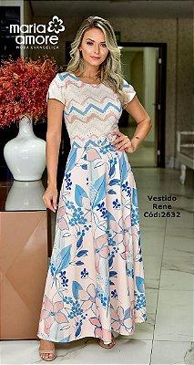 Vestido Longo Moda Evangelica Estampado com Cinto Maria Amore 2632