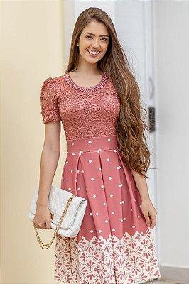 Vestido Moda Evangelica Lady Like com detalhes em Renda e Perolas Maria Amore 2800
