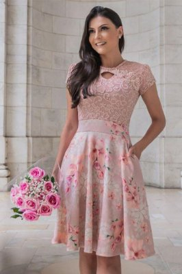 Vestido Rose Moda Evangelica Lady Like Maria Amore 2813