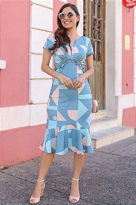 Vestido Moda Evangelica Barra Sino com detalhe em Guipir  Maria Amore 2776