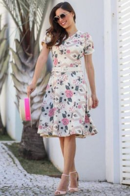Vestido Estampado Moda Evangelica Lady Like com Cinto Maria Amore 2770