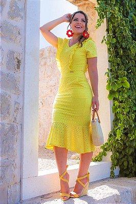 Vestido em Lese Moda Evangelica Barra Sino Boutique K 0130