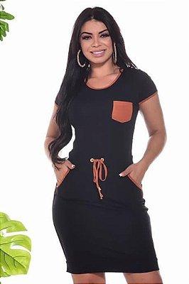 Vestido Preto em Malha Moda Evangelica com Amarração na cintura DM