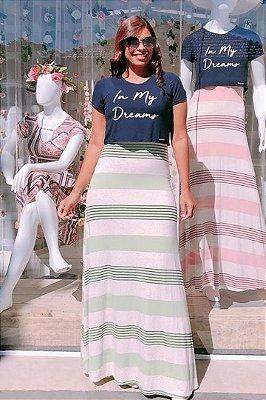 Vestido Longo Moda Evangelica com Saia Listrada MM 452