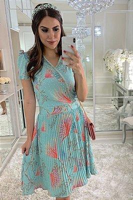 Vestido Transpassado Moda Evangelica Saia Plissada com detalhes em Perolas RP