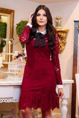 Vestido Moda Evangelica em Renda Marsala Manga Longa AZ30108