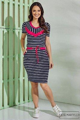 Vestido de Listras Moda Evangelica Tata Martello 5119
