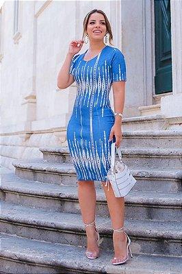 Vestido Tubinho Azul Jeans  Moda Evangelica com Elastano e Ziper frontal Boutique K 4762