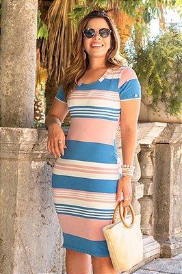 Vestido Tubinho Listrado forrado Moda Evangelica Boutique K 0153