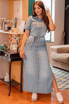 Vestido Longo Jeans Moda Evangelica com Botões e Fenda SO