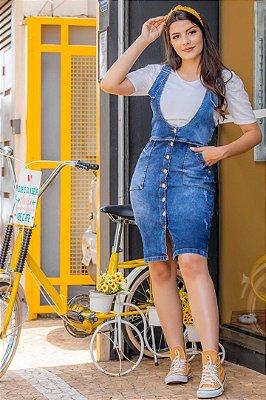 Salopete Jeans Moda Evangelica com detalhes em Botões e Bolso SO