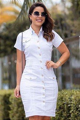Vestido Jeans Branco Moda Evangelica Joyaly 11462