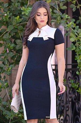 Vestido Tubinho Moda Evangelica com detalhes em Recortes Branco LD