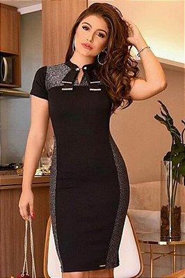 Vestido Tubinho Preto Moda Evangelica com detalhes em Recortes LD