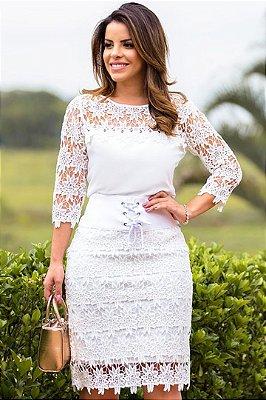 Conjunto Branco Moda Evangelica com detalhes em Renda  Monia 97559