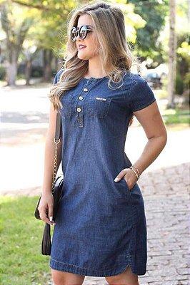 Vestido Tubinho Jeans Moda Evangelica com detalhes em Botões e Bolso DJ