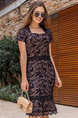 Vestido Barra Sino Moda Evangelica com Detalhes em Renda e Guipir Maria Amore 2903