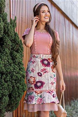 Vestido Estampado Moda Evangelica com Cinto Maria Amore 2869