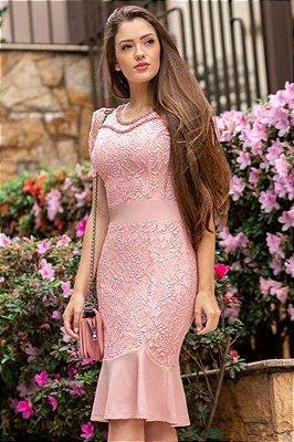 Vestido em Renda Rosa Moda Evangelica Barra Sino Maria Amore 2826