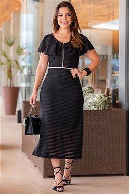 Vestido Midi Moda Evangelica em Malha Devore com Transparência e Forro Boutique K 0163