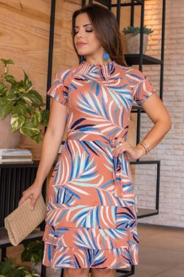 Vestido em Malha Forrado Moda Evangelica Estampado com detalhes em babado  Boutique K 5019
