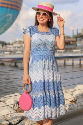 Vestido Midi Azul Moda Evangelica em Malha Tricô RP