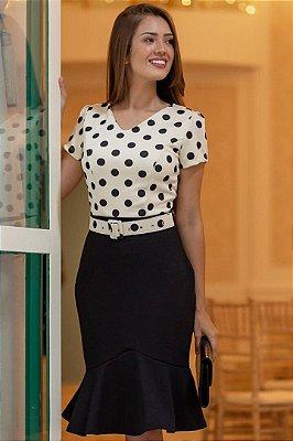 Vestido Barra Sino Moda Evangelica com Cinto Maria Amore 2954