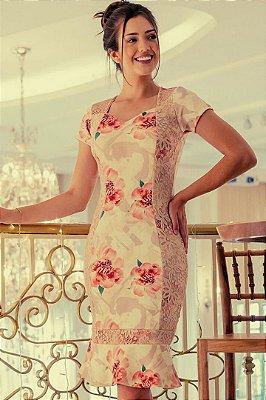 Vestido Barra Sino Moda Evangelica Estampado com detalhes em Renda Maria Amore 2941