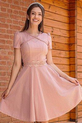 Vestido Gode Moda Evangelica Rose com detalhes em Perolas e Tule Maria Amore 2919