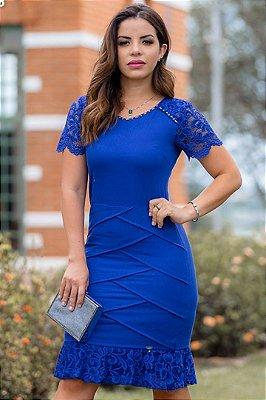 Vestido Azul Moda Evangelica com detalhes em Renda Monia 97158