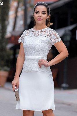 Vestido Moda Evangelica Off White com detalhes em Rendas Monia 98164